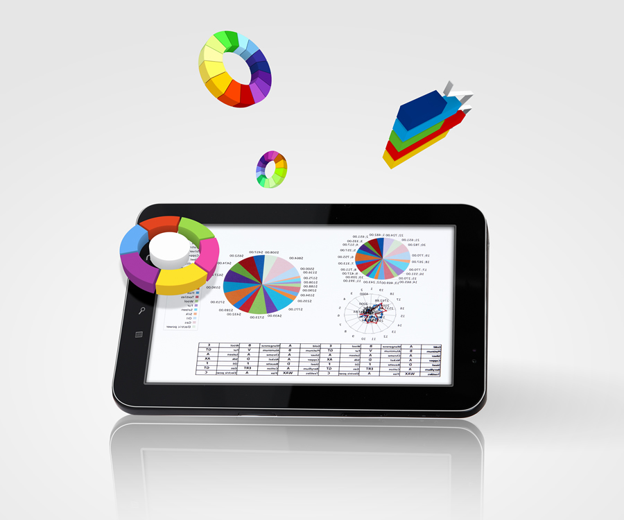 a dynamic graphic of a table with pie charts and line charts floating off of tablet 2
