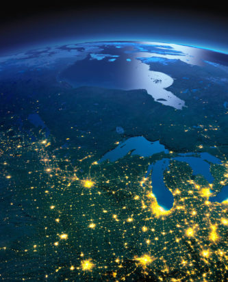 Most of North American with city lights visible from space