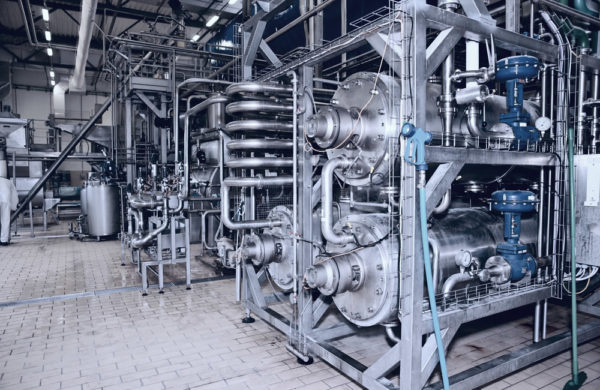 Piping and process equipment in a dairy plant