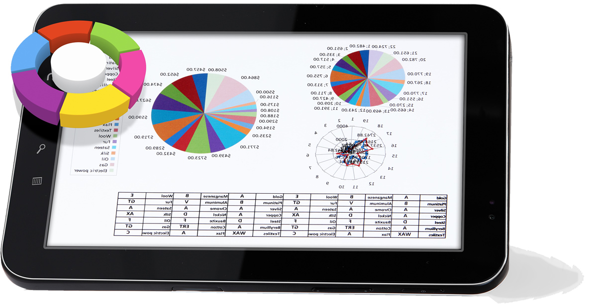 pie charts rising off of tablet screen